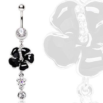 316L Steel Black Hibiscus syriacus with Gem Dangle Navel Ring