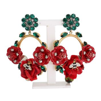 Gold Brass Roses Floral Crystal Clip Earrings