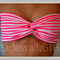 Etsy Transaction -          Pink Stripe Bandeau Top Spandex Bandeau Bikini Swimsuit