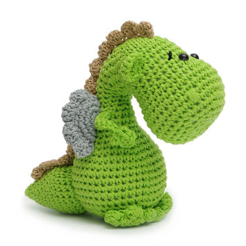 Green Dragon Handmade Amigurumi Stuffed Toy Knit Crochet Doll VAC