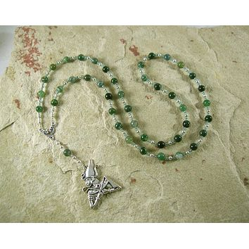 Osiris (Wesir) Prayer Bead Necklace in Moss Agate: Egyptian God of Death and the Afterlife