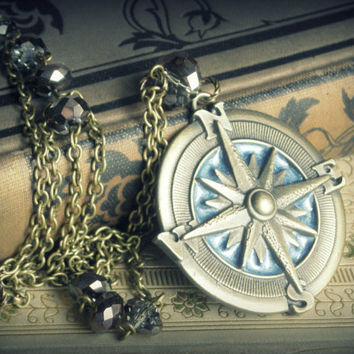 North Star  necklace nautical star compass by DawningLightDesigns