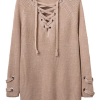 Khaki Plunge Neck Lace Up Front Long Sleeve Knit Dress