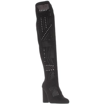 Steve Madden Eden Perforated Over-The-Knee Boots, Black, 7.5 US
