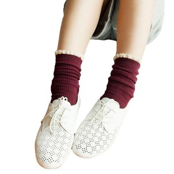 Japanese Harajuku Style Loose Socks Lace Up Fashion Preppy Girls Calcetines Meias Kawaii Sokken Women Solid Color Lolita Sock