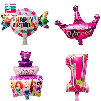 Kids Birthday foil balloons party decorations candy cake crown globos Mini inflatable balloon Kids toy baby shower