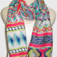 Tribal scarf, infinity scarf, aztec print scarf, fuchsia, yellow, blue, white and navy colored scarf