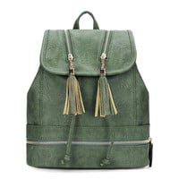 Moss with Tassel Leather Backpack