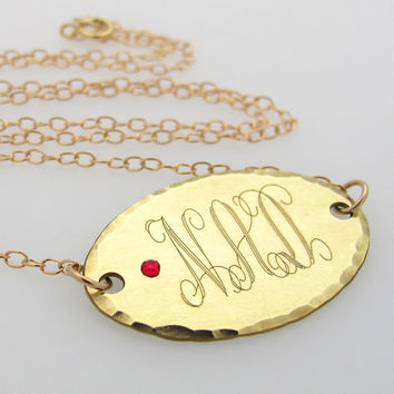 Gold Monogram Initial Necklace with Birthstone Crystal / Personalized Oval Pendant Necklace / Engraved Necklace / Mom Gift