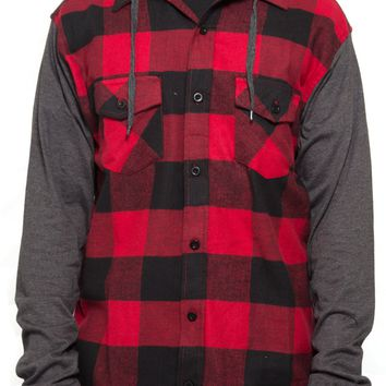 Hoodie Flannel Shirt in Red