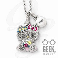 Sterling Silver Hello Kitty Crystal/Gold-Tone/Enamel Virgo Necklace