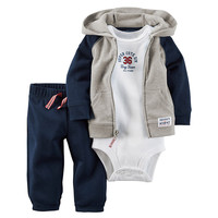 Sets 1 hooded zipper coat + pants + romper fashion cotton 2017 Baby Boy girl Clotheschildren boys cute Clothing free shipping