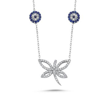 Dragonfly with zirconia and evileye pendant 925k sterling silver chain necklaces