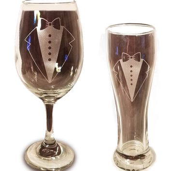 Laser Engraved LGBTQ Groom and Groom Glasses - 20 oz Wine Glass and 15 oz Beer Pilsner Glass - Wedding Toasting Set of 2 - Couples Gifts - Engagement Gift - Original Wedding Gifts - Custom Wedding