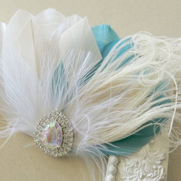 Bridesmaid Feather Hair Accessory, Feather Fascinator, Bridal Hair Piece, Peacock, Ivory,Teal, White, Feather, Hair Clip 1920s, Gatsby