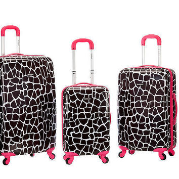 Rockland luggage 3PC Spinner Hardcase Expandable Suitcase Pink Giraffe Animal