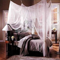 White 4 Corner Canopy Bed Netting- Fits all Bed Sizes