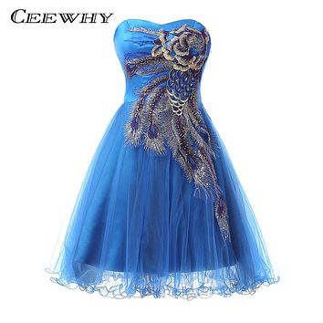 CEEWHY Embroidery Short Cocktail Dresses 2017 Ball Gown Strapless Graduation Homecoming Dress Party Elegant Formal Dress Plus