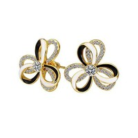 MLOVES Women's Classical Delicate Black & White Stripe Flower Ear Cuffs