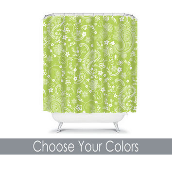 Shower Curtain CUSTOM You Choose Colors Lime Green Paisley Floral Swirl Bathroom Bath Polyester Made in the USA