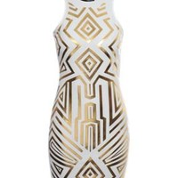 Geometric foil print bodycon dress