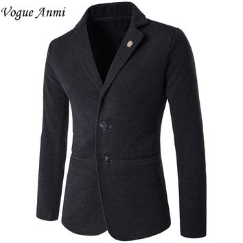 Vogue Anmi.Mens blazer slim fit suit jacket black blue velvet 2017 spring autumn outwear coat Free shipping Suits For Men M-5XL