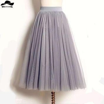 Women Lady Gonna Tulle Princess Skirt Fairy Style Voile Tulle Skirt Bouffant Puffy Femme Long Multilayer falda tul mujer Skirts