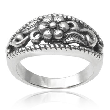 Journee Collection Sterling Silver Flower Ring | Overstock.com Shopping - The Best Deals on Sterling Silver Rings