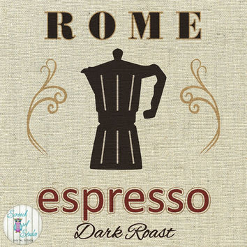 Printable Fabric Transfer Image, Digital Image, Paper Craft Supplies, Instant Art, Home Decor, Clipart - Rome, Italian Coffee Shop