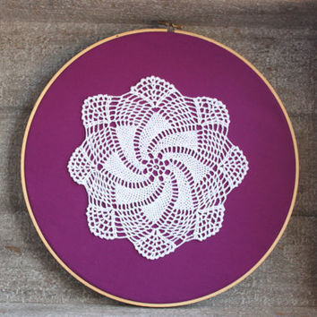 Shabby Chic Doily Art Bright Purple Cottage Chic Embroidery Hoop Art Wall Hanging Decor