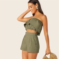 Ruffle Overlap Bandeau And Shorts 2 Piece Set Women Sleeveless Crop Top Matching Sets Vacation Casual Two Piece Set