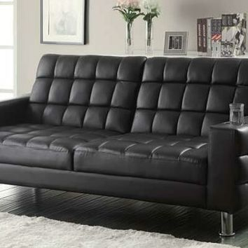 Dark brown leatherette upholstered folding sofa / futon bed with tufted accents