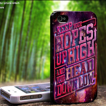 Keep Hopes High and Head Down Low Burn in Galaxy A Day To Remember For iPhone 5 / 4 / 4S - Samsung Galaxy S3 / S4 ( Black / White case )