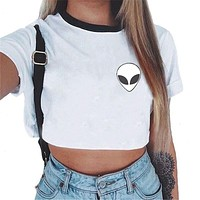 Summer Beachwear Tops White Bra Bustier Print Alien Letter Crop Top Bralette Crochet Cropped Blusas Women's Tanks Workout Bras