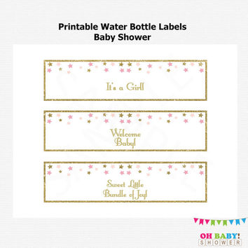 Printable Water Bottle Labels Baby Shower, Twinkle Twinkle Little Star Baby Shower, Pink Gold Baby Shower, Baby Girl, Instant Download, STPG