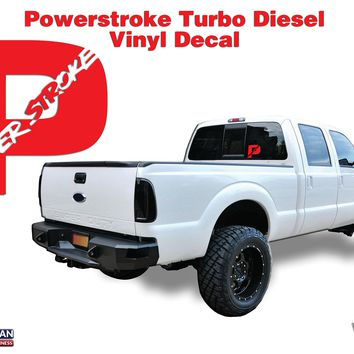 "Powerstroke Turbo Diesel Hood Window Body vinyl sticker decal 8"" Superduty Truck"