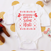 Silent Night Funny Holiday Baby Outfit