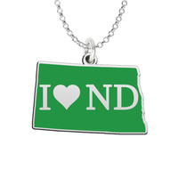 I Love North Dakota Sterling Silver State Shape Necklace