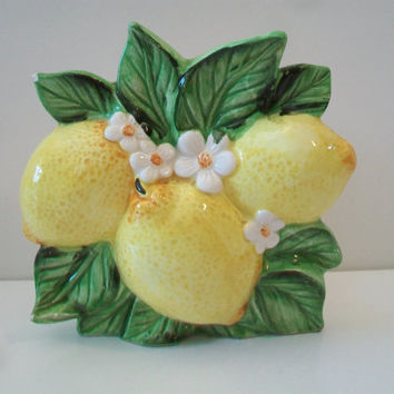 Vintage Ceramic Lemon Napkin Holder Retro Kitchen Home Decor Fruit