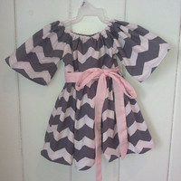 Girls peasant dress Grey and White Chevron w/ Light Pink Sash. Perfect for Spring, Summer, Birthday and pictures. Toddler. Baby. Pillowcase