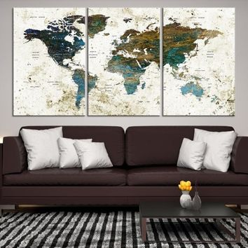 29656 - Modern World Map Wall Art Canvas Print for Office Decor | Vintage World Map