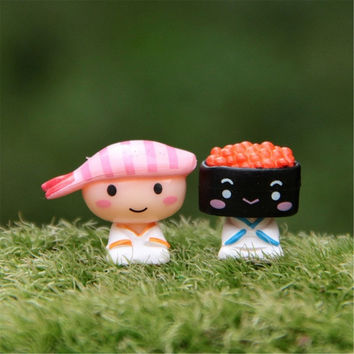 2PCs set Japanese Sushi Doll Cute Creative Car Decoration Doll Decorated Children's Toys Christmas Halloween Gifts