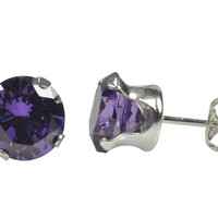 Round Amethyst CZ Sterling Silver Stud Earrings Prong Set Cubic Zirconia