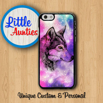 WOLF GALAXY Phone CASE iPhone 6 iPhone 6 Plus iPhone 5S iPhone 5C American Tribal Wild Animal iPhone 4S Hunter Paint Samsung Galaxy S5 S4 S3