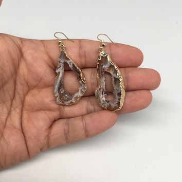 """8.2 grams, 2.2"""" Agate Druzy Slice Geode Gold Plated Earrings from Brazil, BE136"""