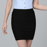 2016 spring and summer Women Skirt  High Waist Pencil Skirts Elastic Slim Office  Black Mini Short Skirt