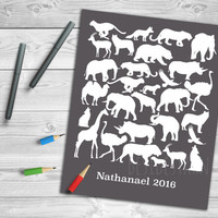 Safari Animals Guest Book, Safari Birthday Party, Animal Baby Shower, Safari Print, Safari Guest Book, Custom Event Guestbook Alternative