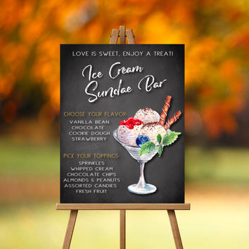 Ice Cream Sundae Bar Sign-PRINTABLE, Wedding snack, Ice Cream Bar, Ice Cream Party, Sundae Bar, Dessert bar, Late Night Snack