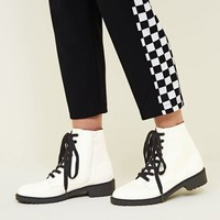 White Lace Up Chunky Boots | New Look