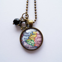 Map of Belgium, The Netherlands - Map Pendant Necklace - Custom Jewelry - Travel Necklace - You Choose Bead and Charm - Personalized Jewelry
